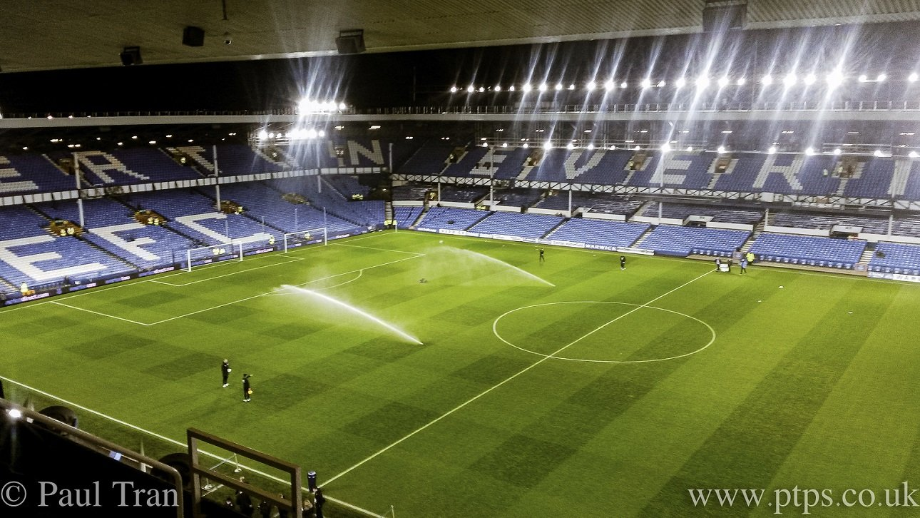 Goodison Park before an Everton Game with the floodlights on