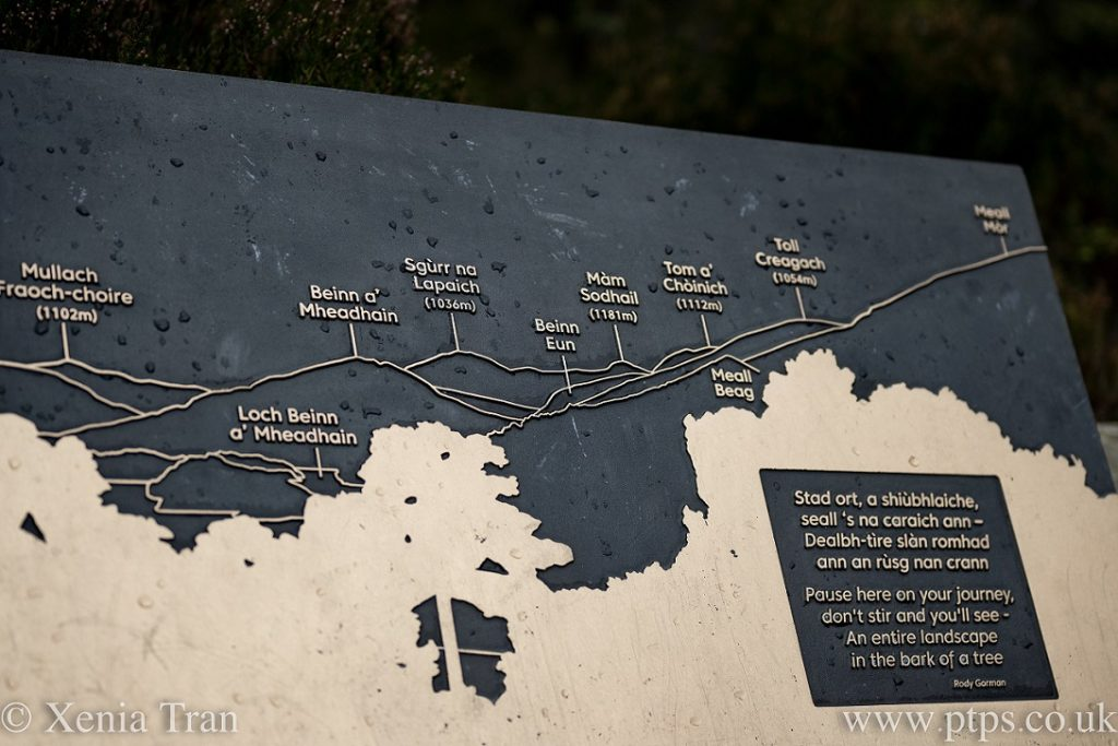 Information board at the viewpoint over Loch Beinn a'Mheadhain, listing the names of mountains and peaks in the distance